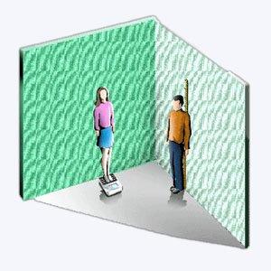 medir altura e peso de pessoas para criar uma tabela