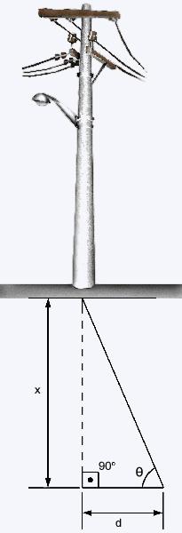 usando a triângulação para medir a distãncia de  um poste longínquo