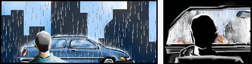 Chuva no pára-brisas de um automóvel