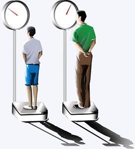 utlizando uma balança para medir o peso