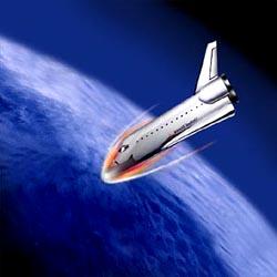 onibus espacial entrando na atmosfera
