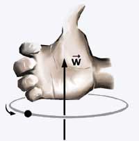 regra da mão direita para definir a direção e o sentido do vetor torque.