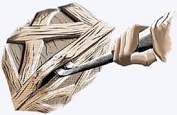 pé-de-cabra funciona como alavanca para abrir uma caixa