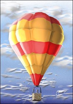 um dirigível contendo no seu interior gas de hidrogênio que é mais leve que o ar