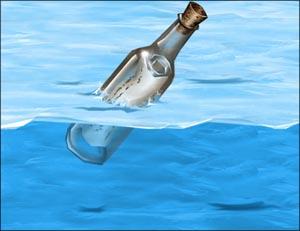 garrafa tampada boiando