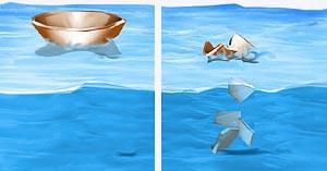 uma tigela flutuando e depois de ser quedrada