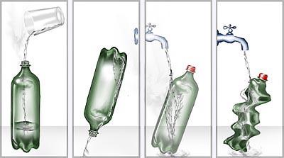 Esmagando uma garrafa de plástico devido a diferença de pressão