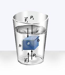 princípio de Arquimedes, sobre objetos que se movem dentro de um fluido